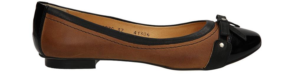 Damskie BALERINY OLEKSY 1306/579/ czarny;brązowy;
