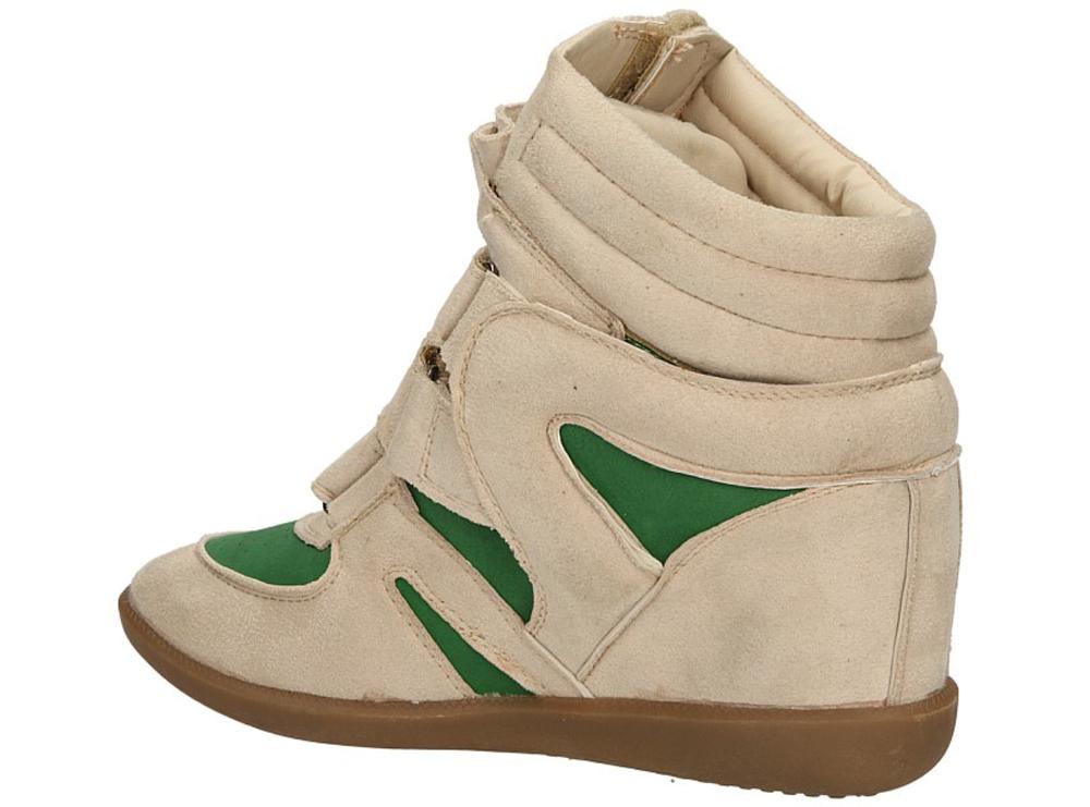 SNEAKERSY CASU 7F-SG32835 kolor jasny beżowy, zielony