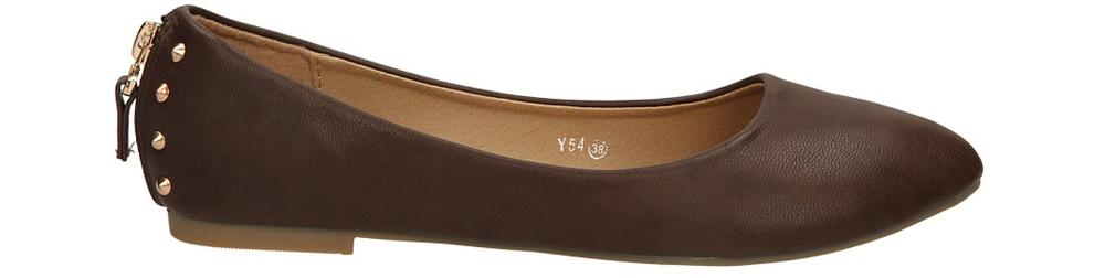 Damskie BALERINY CASU Y54 brązowy;;