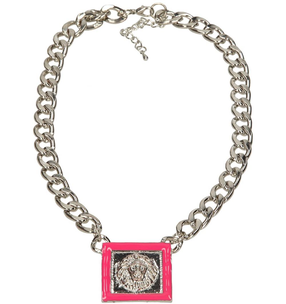 Damskie NASZYJNIK 4Z07-60 srebrny;różowy;