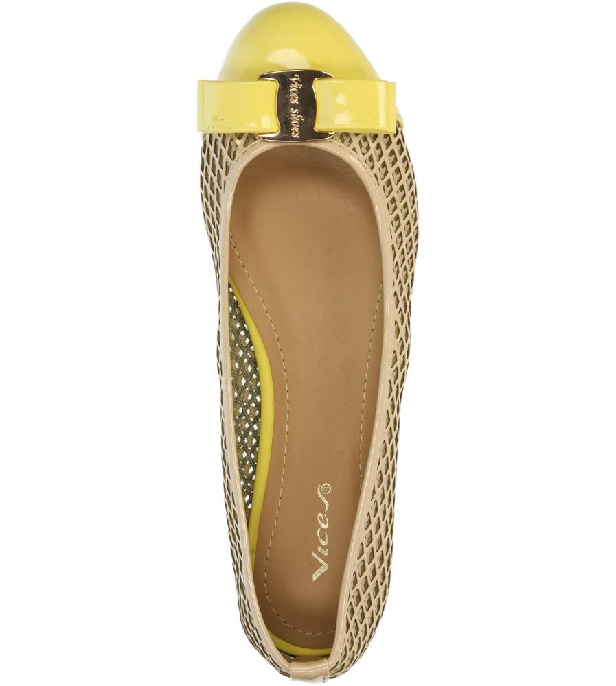 BALERINY CASU VICES X618 kolor beżowy, żółty