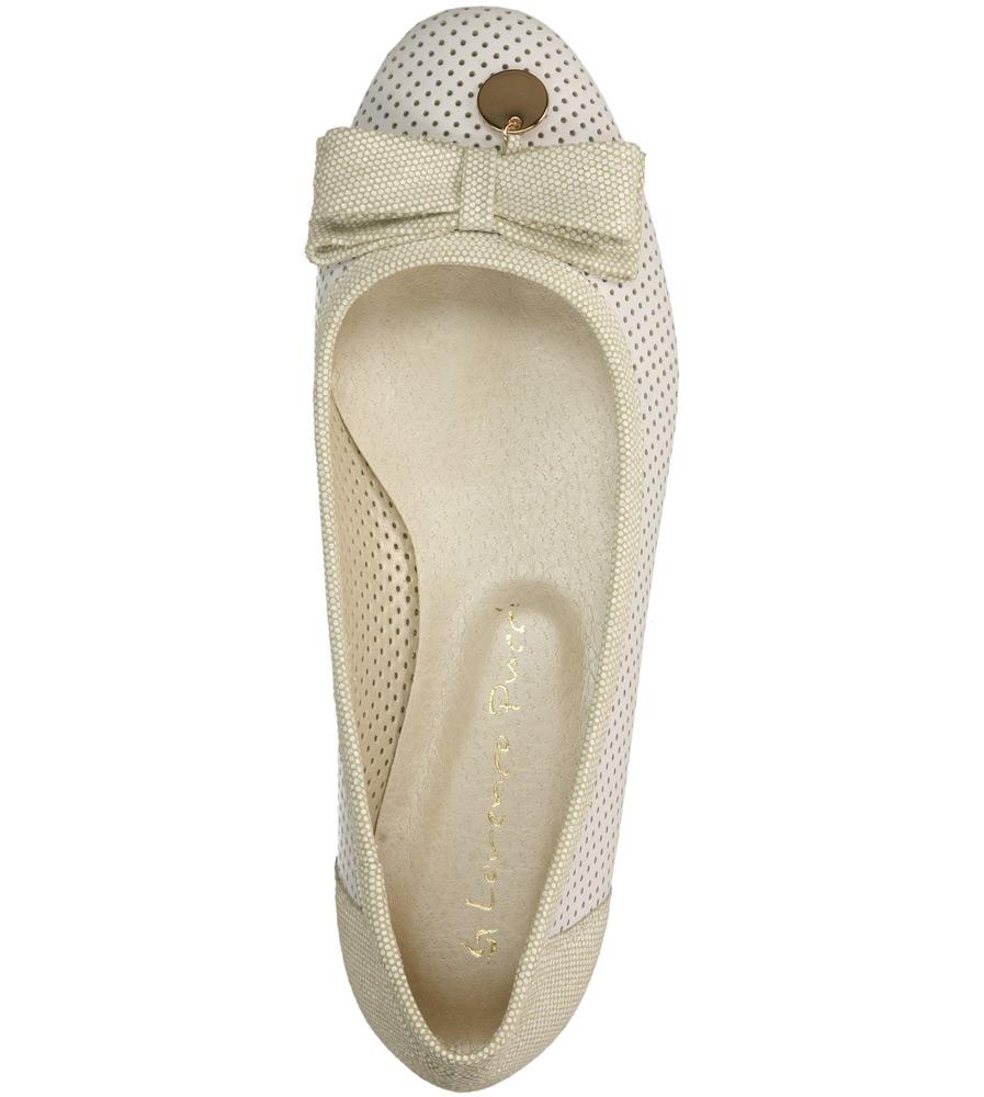 Damskie BALERINY CASU 05-14 biały;beżowy;