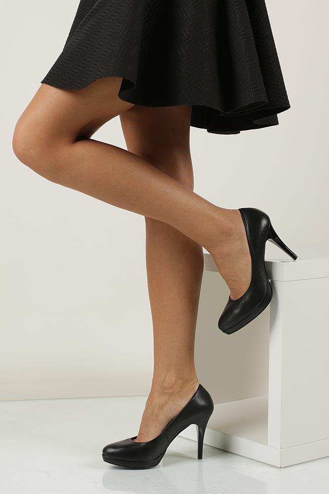 Szpilki czarne skórzane Sala 9438/08 model 9438/08