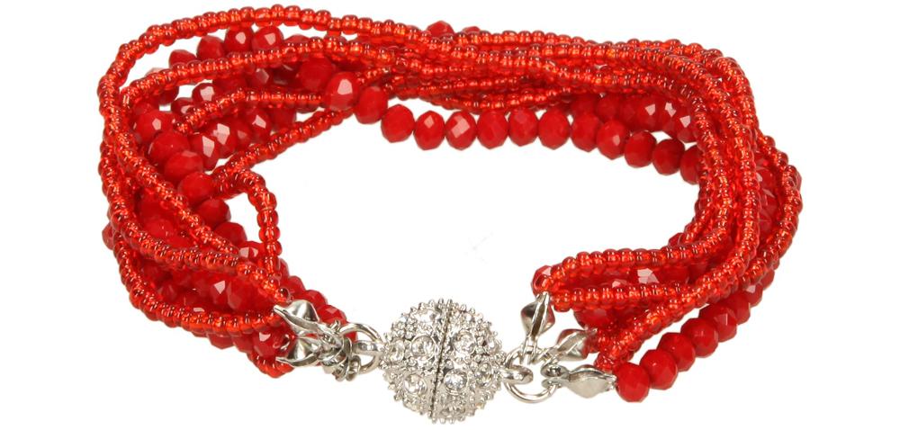 Damskie BRANSOLETA KK87456 czerwony;;