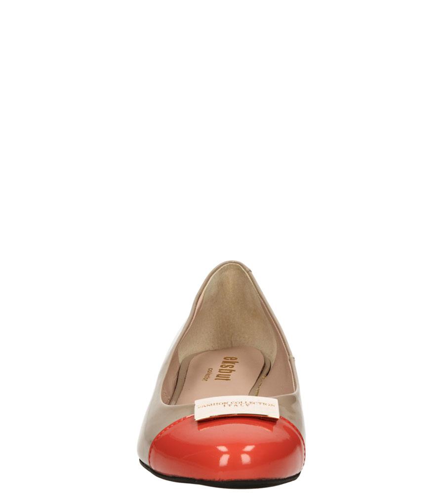 Damskie BALERINY EKSBUT 25-3470 beżowy;czerwony;