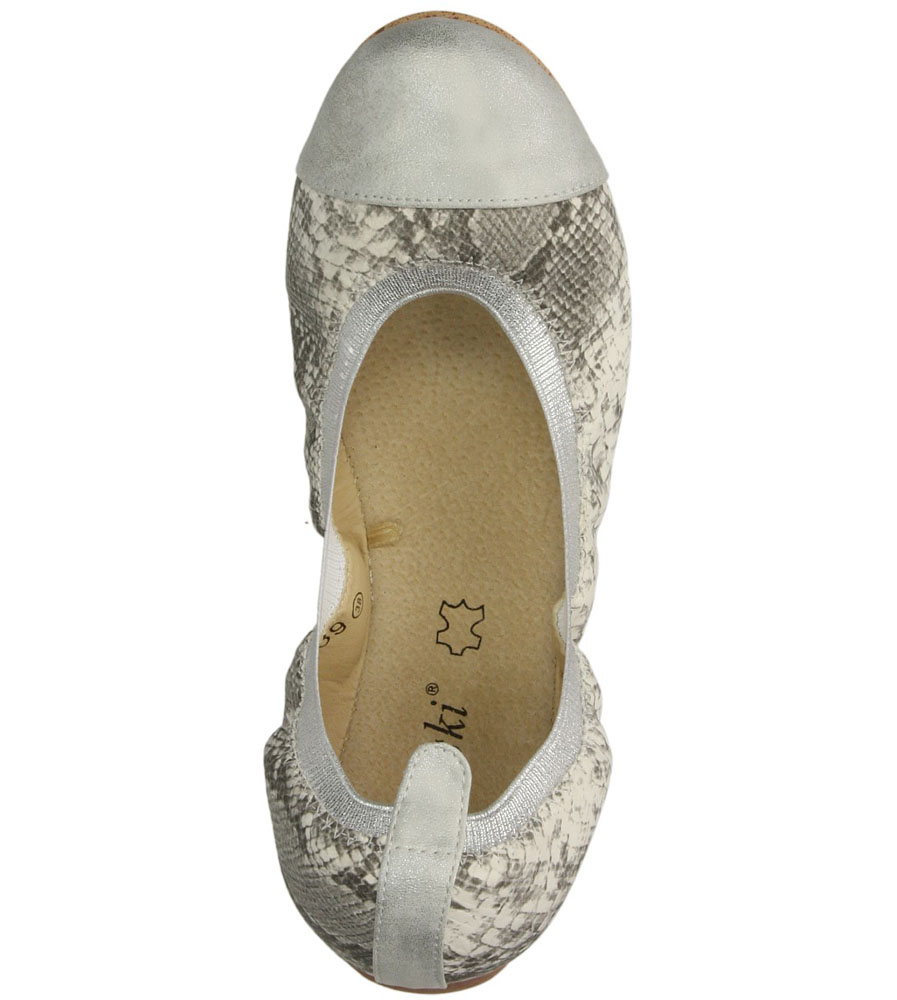 Damskie BALERINY S.BARSKI 239 biały;srebrny;