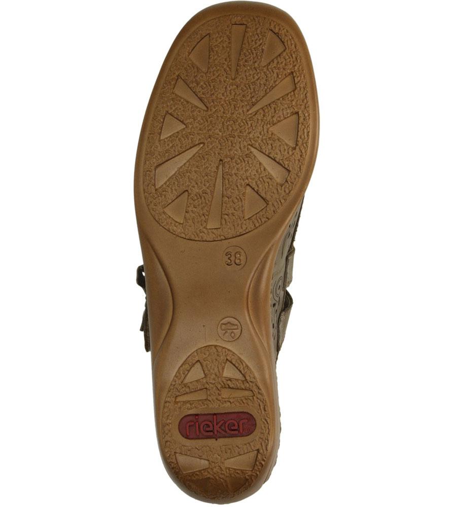 Półbuty beżowe skórzane ażurowe Rieker 41372-63 wysokosc_obcasa 4 cm