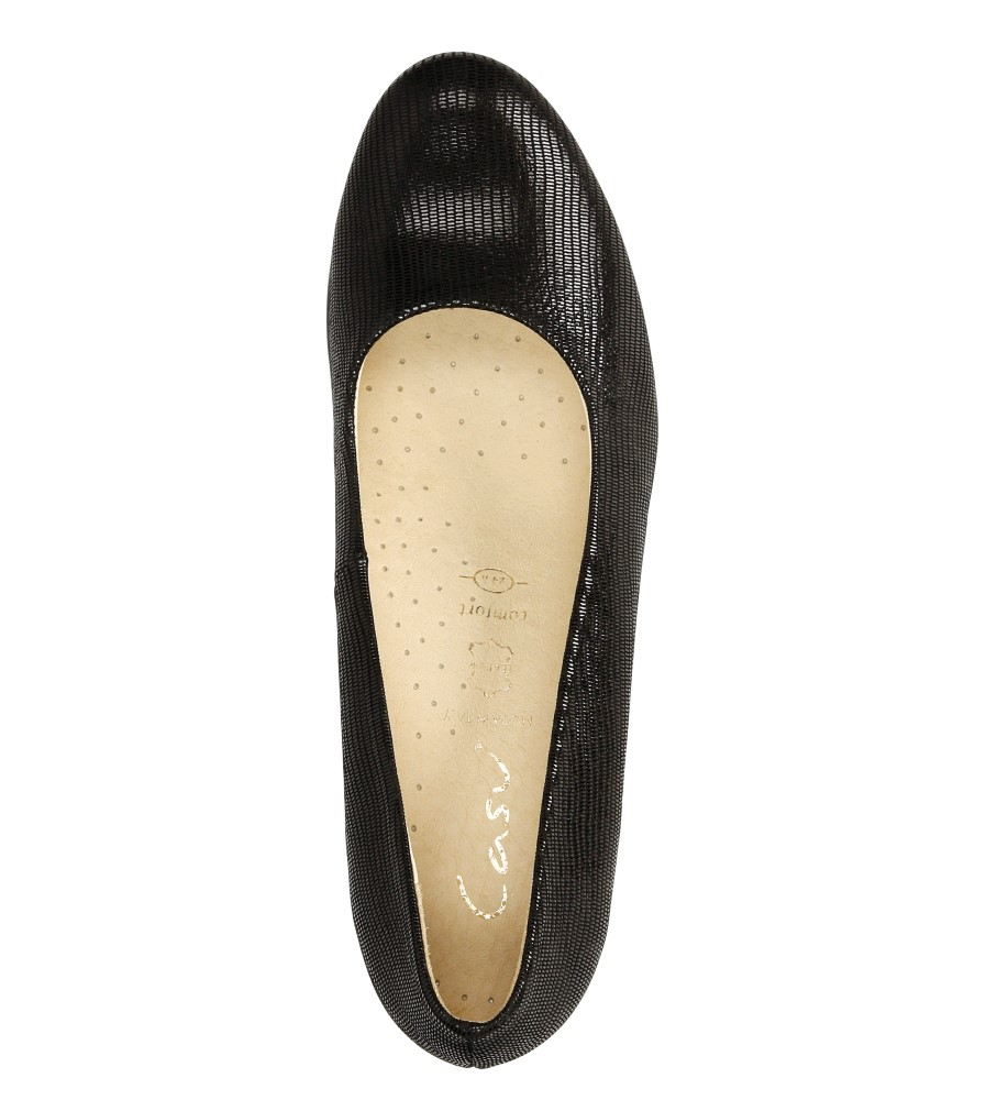 Półbuty czarne skórzane na koturnie Casu 3030 wys_calkowita_buta 12 cm