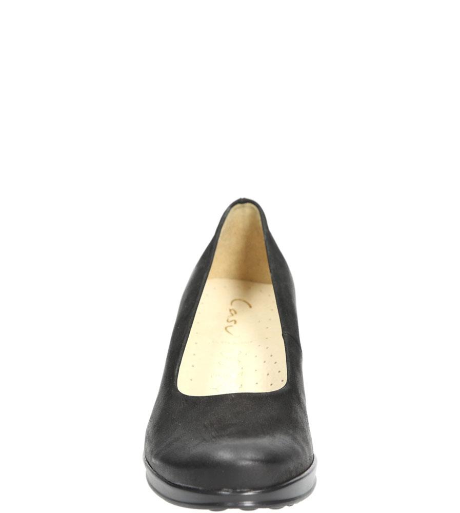 Półbuty czarne z nubuku na koturnie Casu 3147 kolor czarny