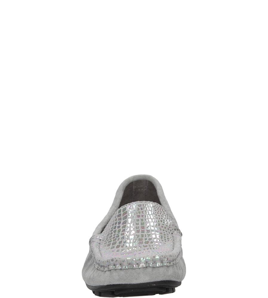 Damskie MOKASYNY NESSI 62605 szary;srebrny;