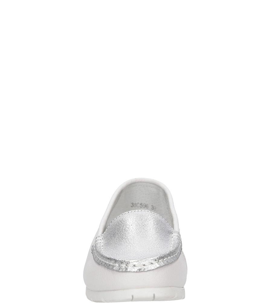 Mokasyny skórzane Lanqier 38C596 kolor biały