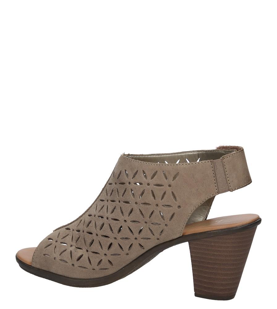 Sandały skórzane ażurowe na słupku Rieker 64196 kolor beżowy