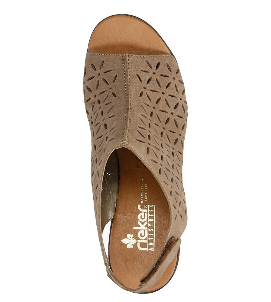 Sandały skórzane ażurowe na słupku Rieker 64196 wysokosc_obcasa 8 cm