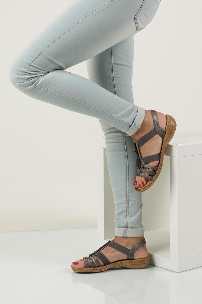 Szare sandały z ozdobą Rieker 60841-45