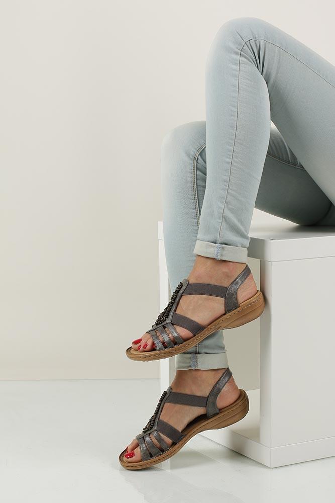 Sandały z ozdobami Rieker 60841 wkladka materiał