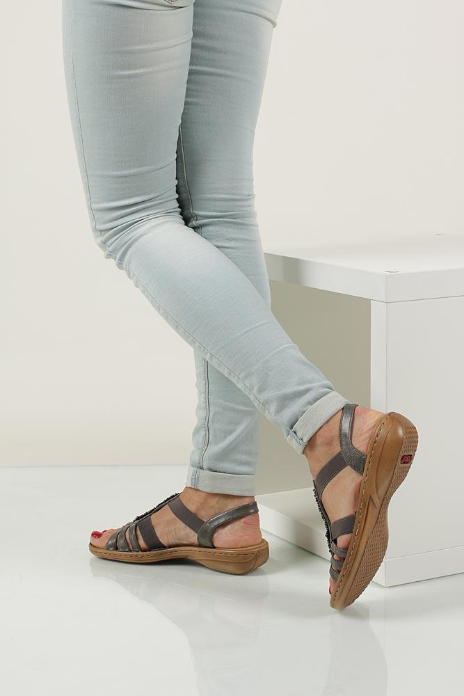 Sandały z ozdobami Rieker 60841 material_obcasa wysokogatunkowe tworzywo
