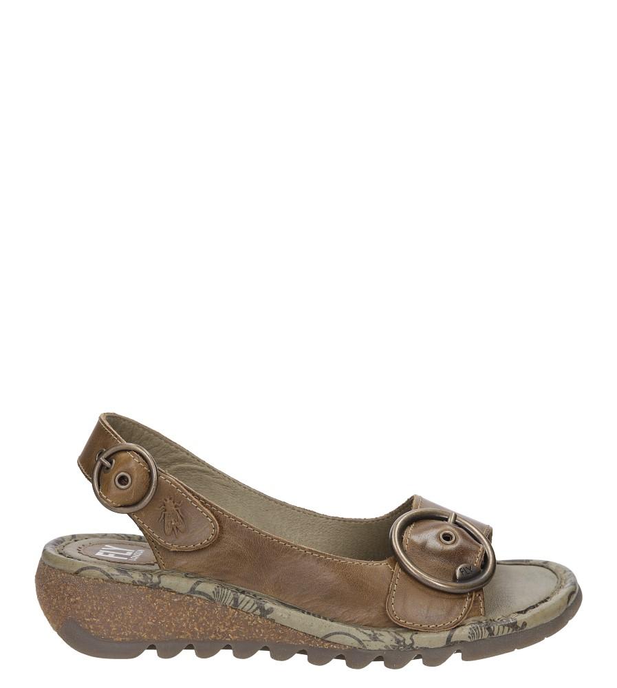Damskie Sandały skórzane na koturnie Fly London P50072300 brązowy;;