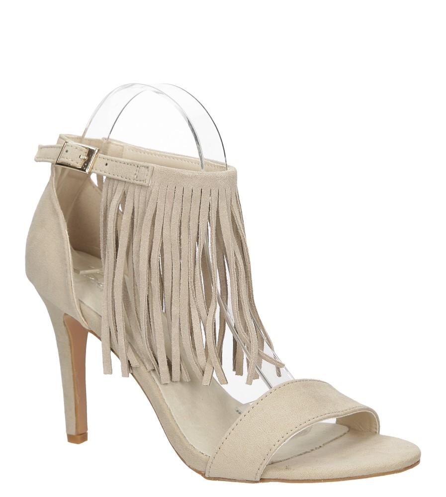 Damskie Sandały z frędzlami na szpilce Casu  LS39602 beżowy;;