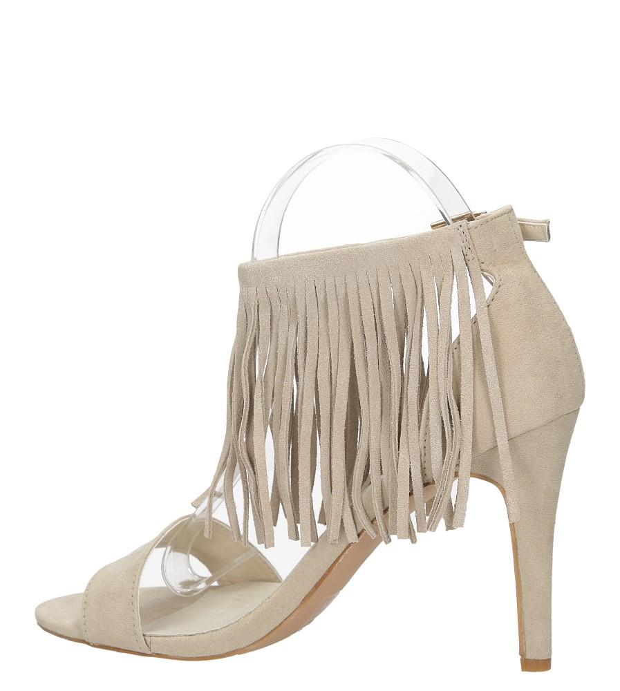 Sandały z frędzlami na szpilce Casu  LS39602 kolor beżowy