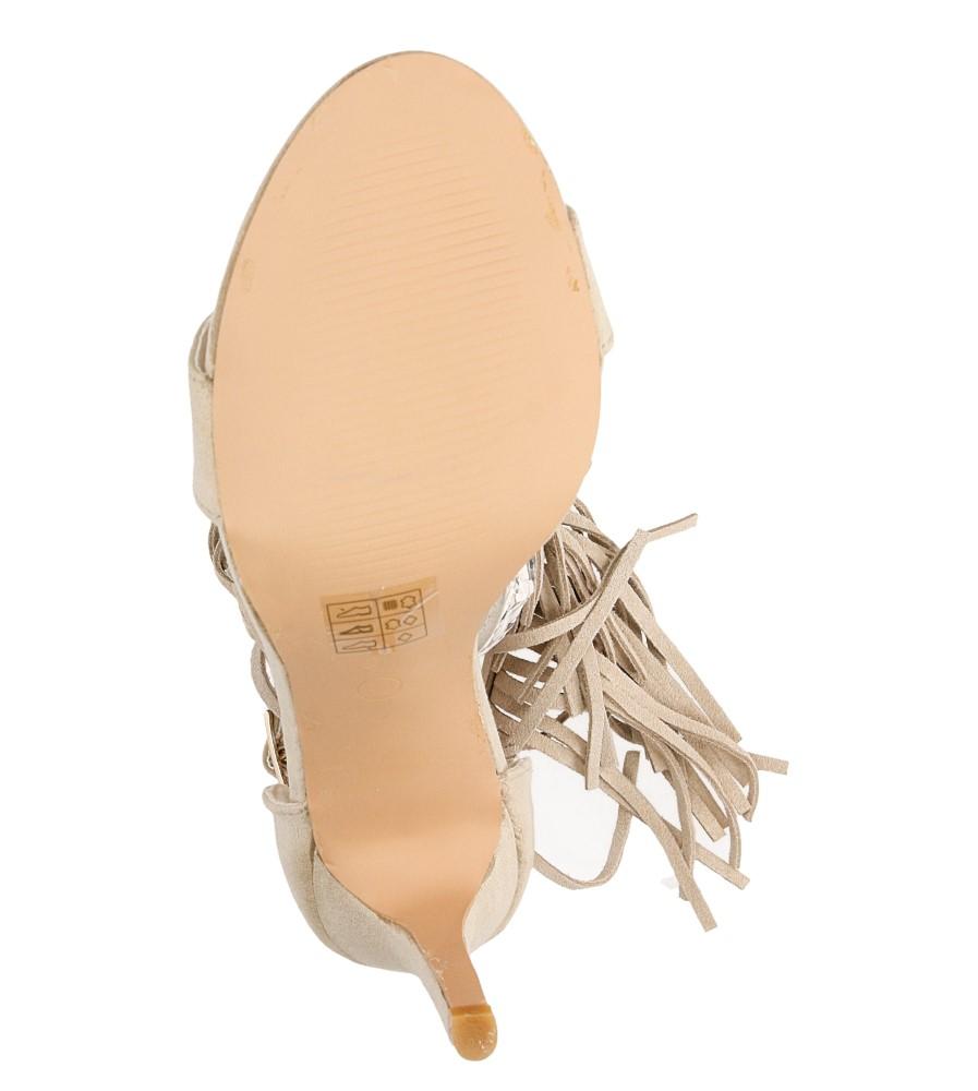 Sandały z frędzlami na szpilce Casu  LS39602 wierzch skóra ekologiczna - zamsz