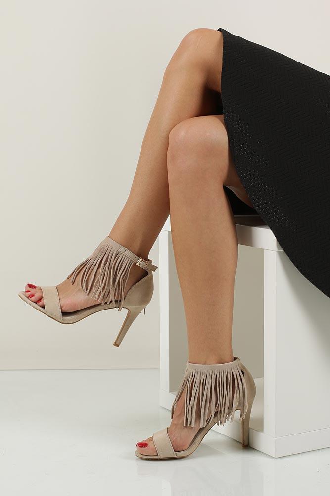 Sandały z frędzlami na szpilce Casu  LS39602 material_obcasa pokryty materiałem