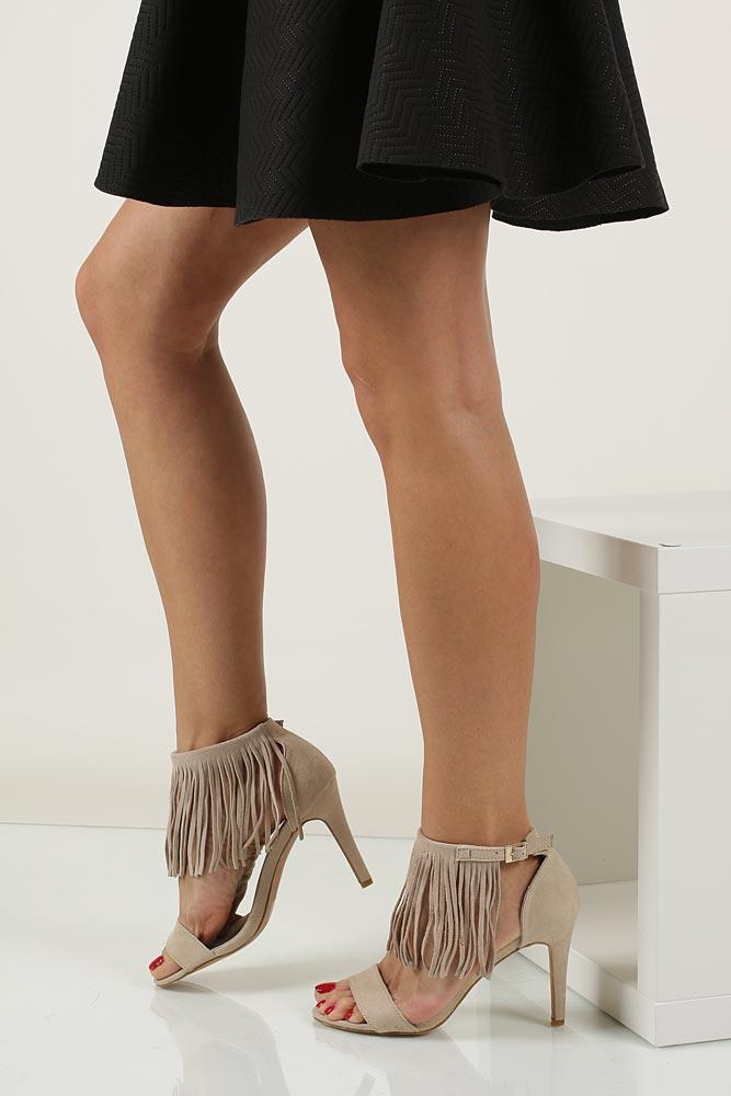 Sandały z frędzlami na szpilce Casu  LS39602 nosek_buta otwarty