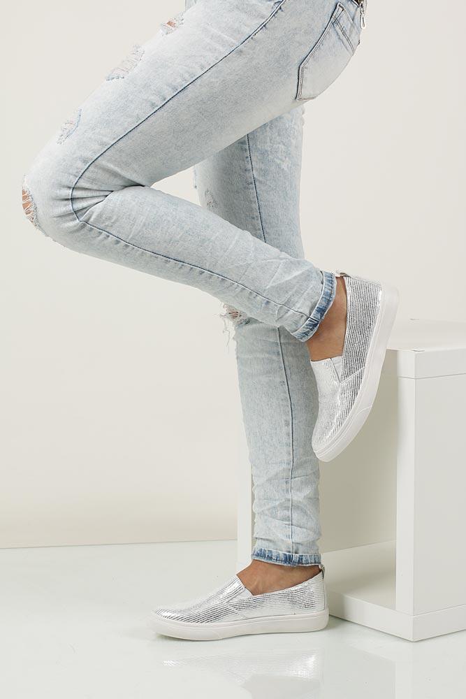 Damskie SLIP ON VICES K01 biały;srebrny;