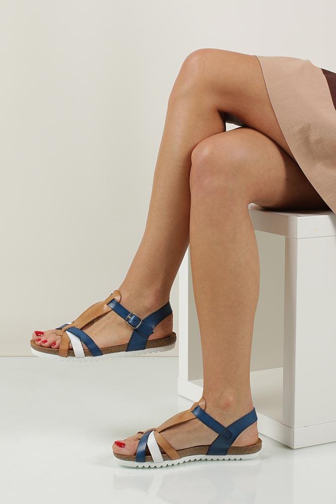 Damskie SANDAŁY VERANO 5211 niebieski;biały;