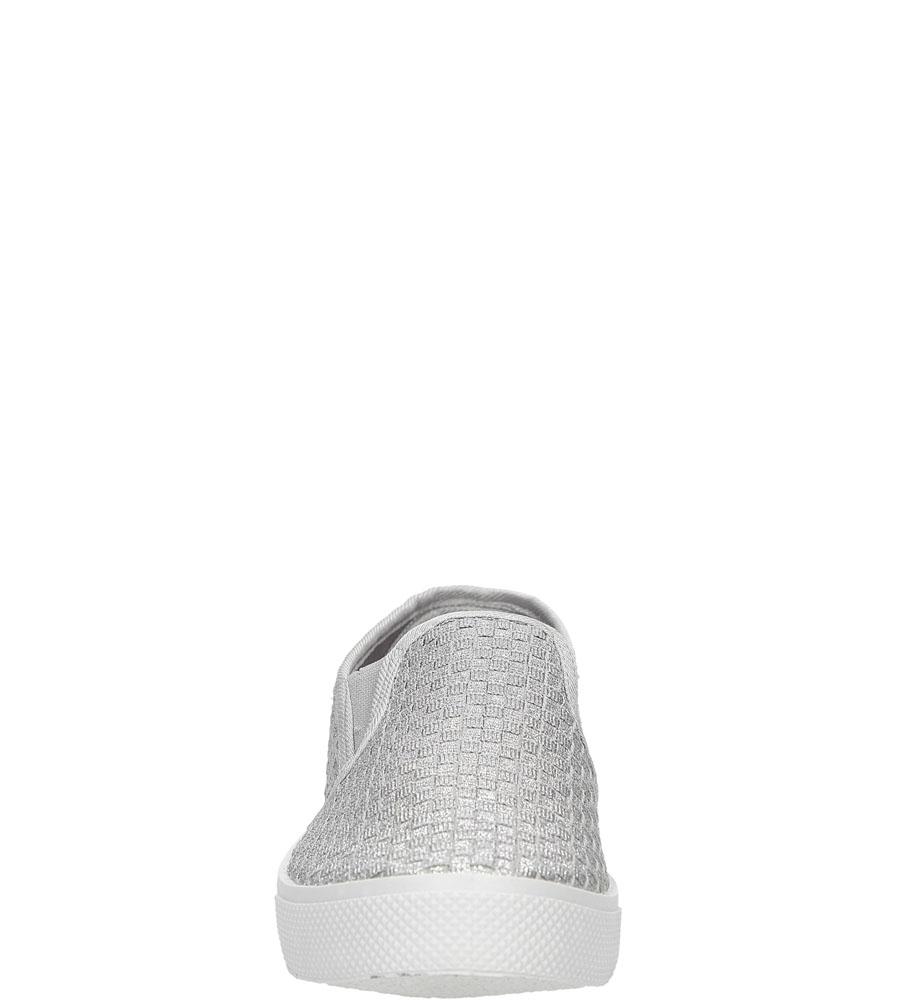 Damskie SLIP ON CASU HL-61007 srebrny;;