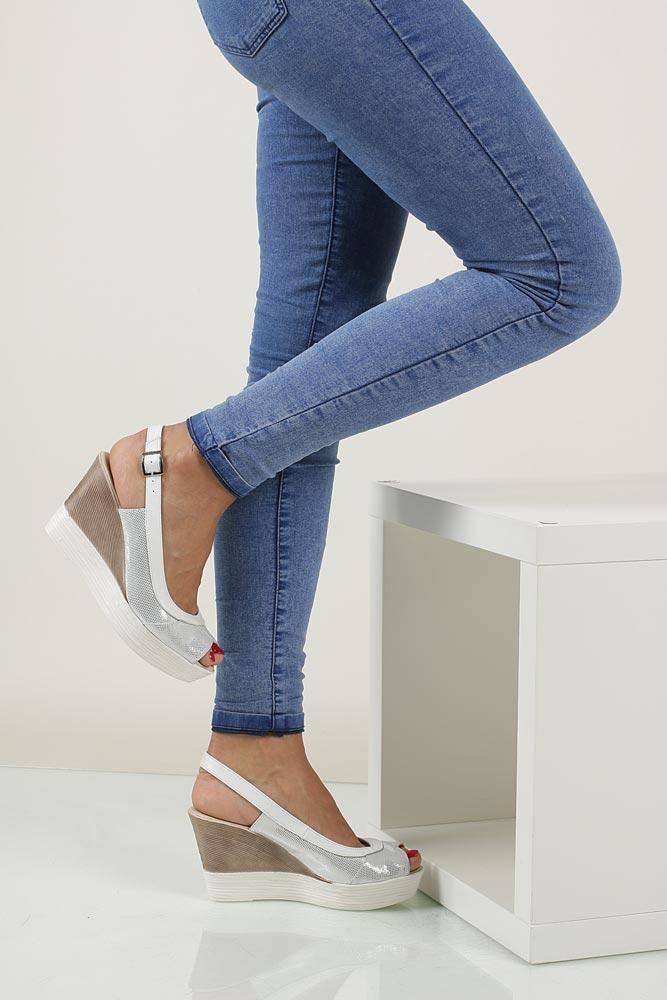 Sandały na koturnie Casu 3907 material_obcasa wysokogatunkowe tworzywo