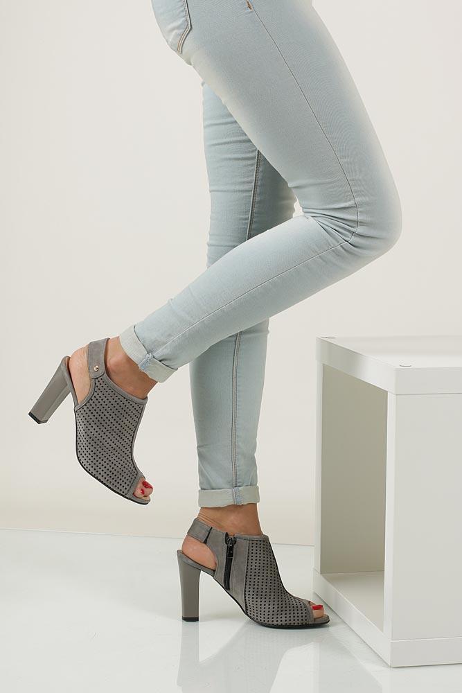 Sandały ażurowe na słupku Casu 302 material_obcasa wysokogatunkowe tworzywo