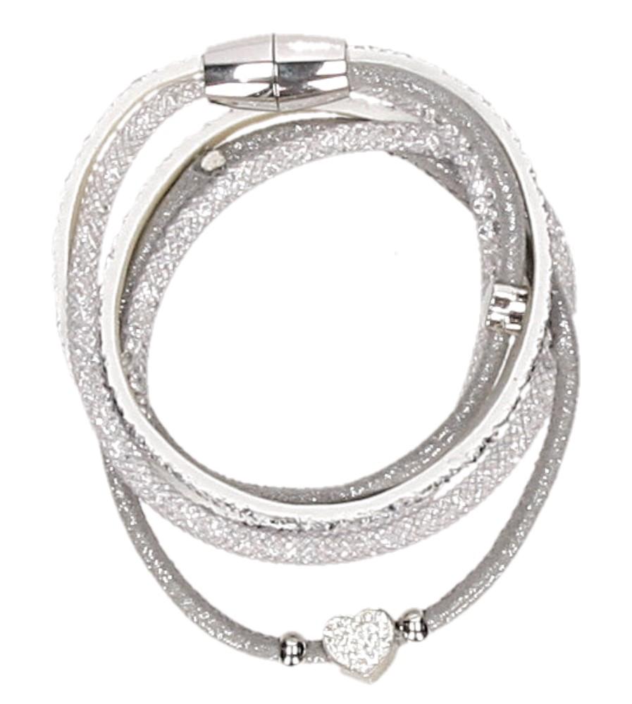 Damskie BRANSOLETA BB08160 srebrny;biały;