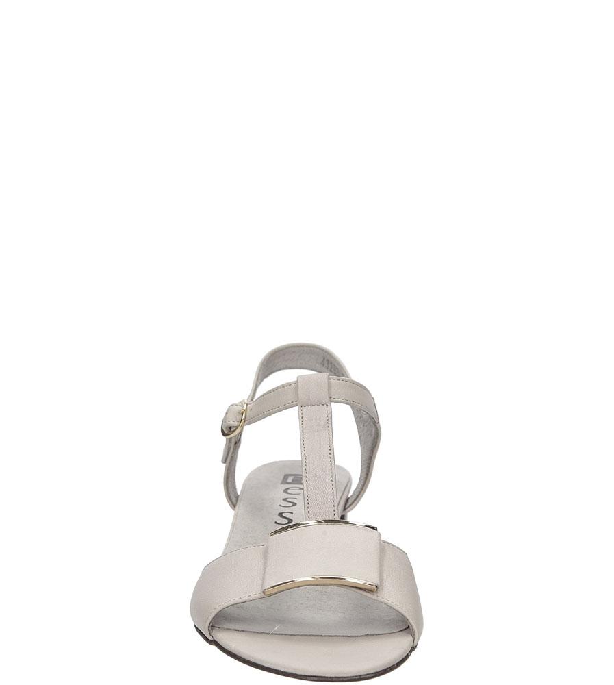 Sandały skórzane na słupku Nessi 43203 kolor szary