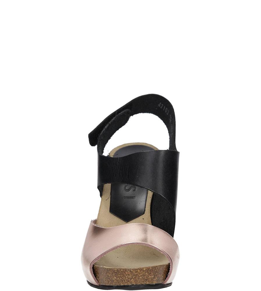 Sandały skórzane na słupku Nessi 42103 kolor czarny, miedziany
