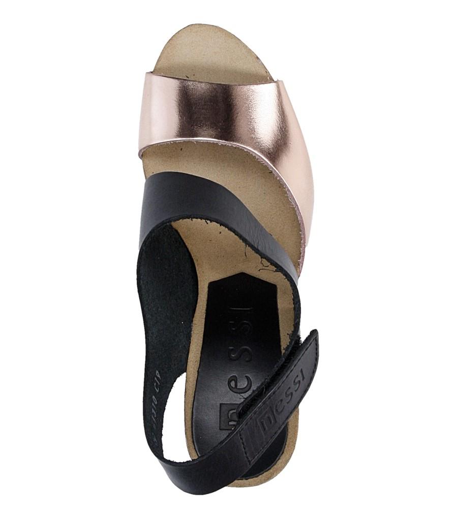 Damskie Sandały skórzane na słupku Nessi 42103 czarny;brązowy;