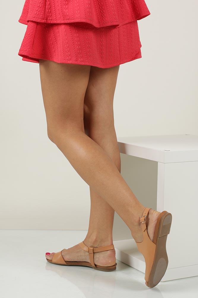 Damskie Sandały skórzane Casu 1116 beżowy;;