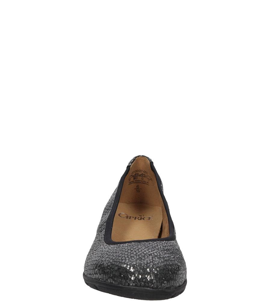 Baleriny czarne skórzane Caprice 9-22150-27 kolor czarny, srebrny