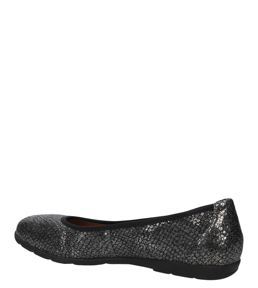 Damskie Baleriny czarne skórzane Caprice 9-22150-27 czarny;srebrny;