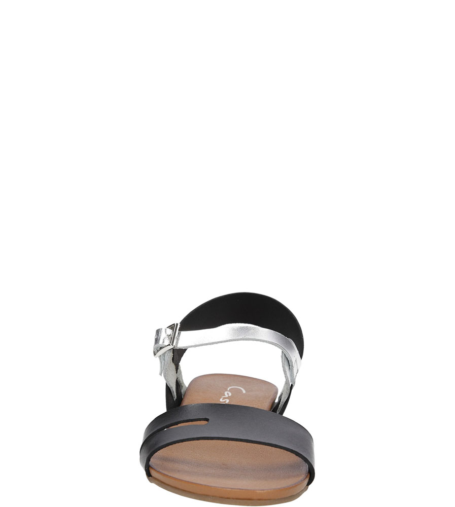 Sandały skórzane Casu 1456 kolor czarny, srebrny