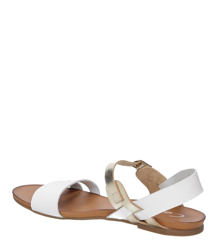 Sandały skórzane Casu 1456 kolor biały, złoty
