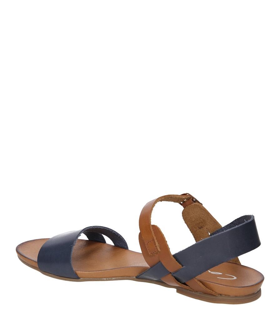 Sandały skórzane Casu 1456 kolor brązowy, granatowy
