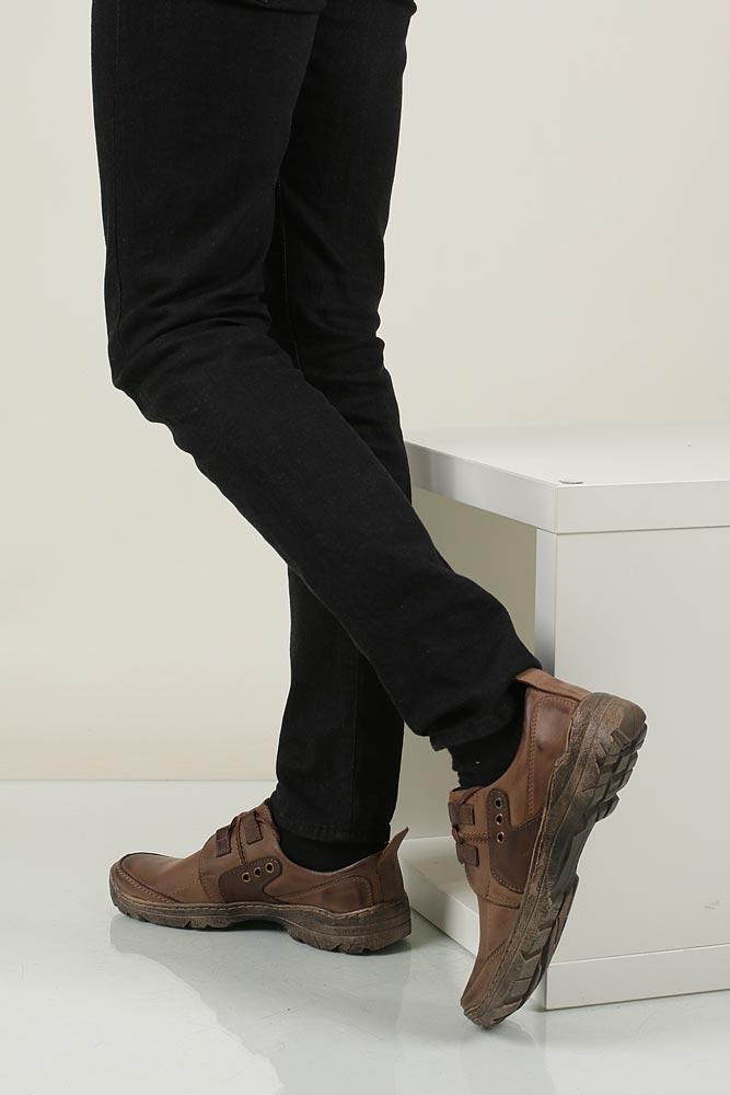 Męskie Półbuty skórzane sznurowane Casu 201 brązowy;;