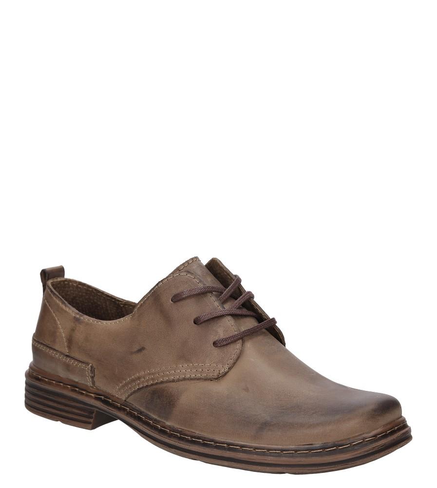 Męskie Półbuty skórzane sznurowane Casu 191 brązowy;;