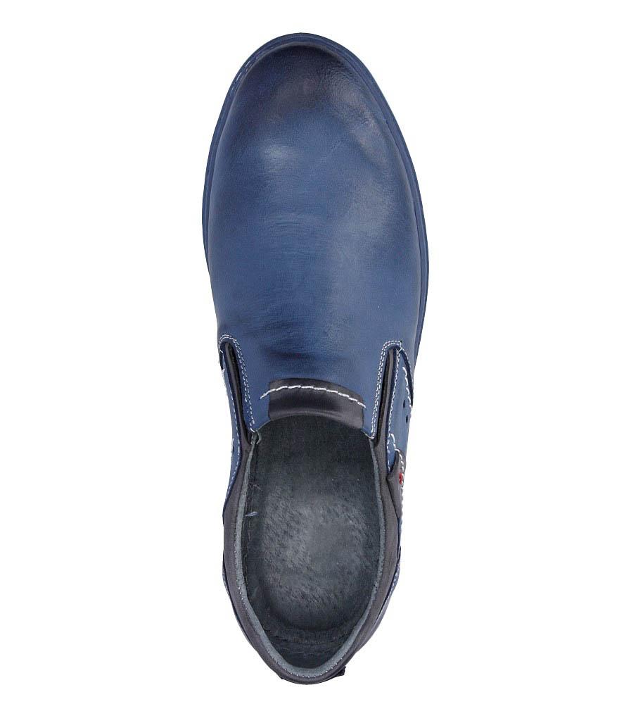 Męskie Półbuty skórzane wsuwane Casu 401 niebieski;;