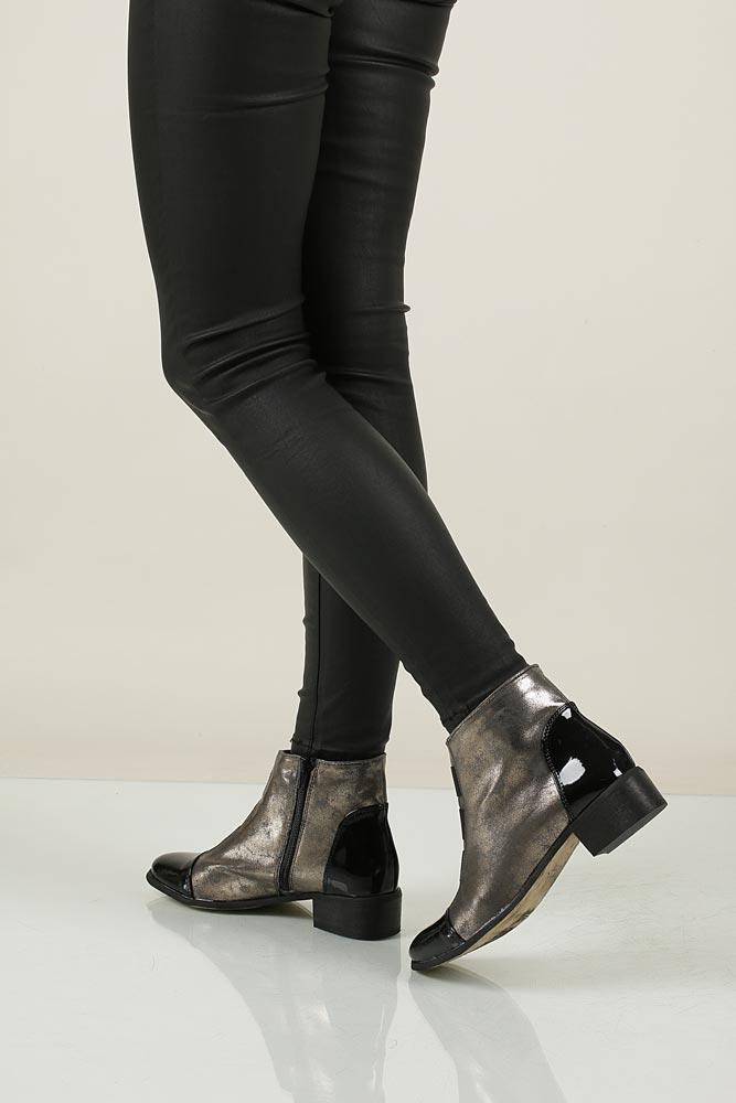damen schuhe casu 020 stiefeletten ankle boots winter gold schwarz lack flache ebay. Black Bedroom Furniture Sets. Home Design Ideas