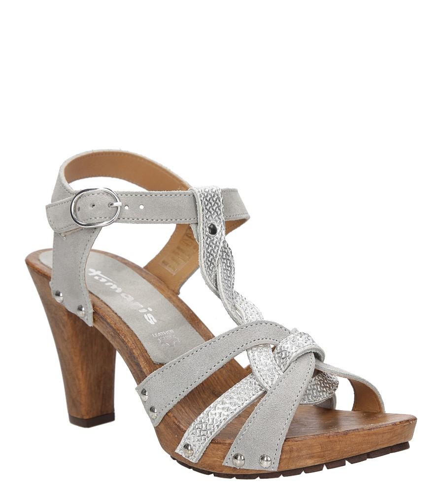 Damskie Sandały srebrne skórzane Tamaris 1-28349-28 srebrny;;