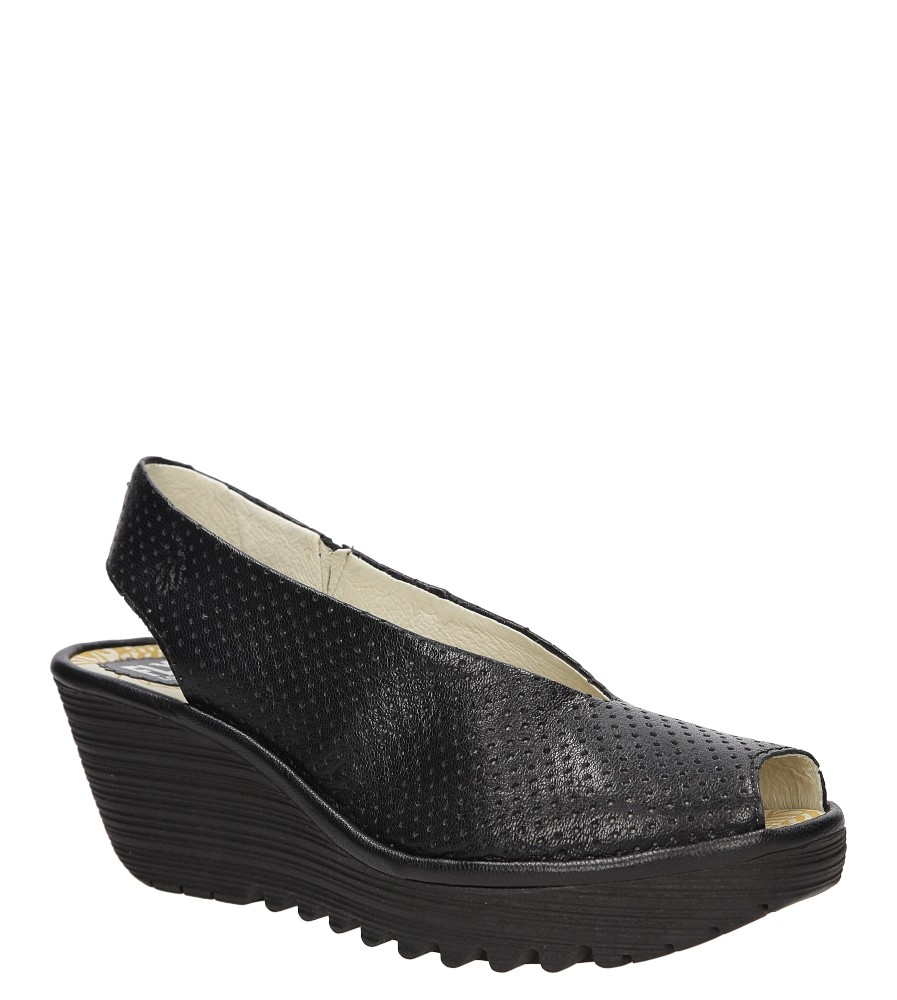 Damskie Sandały skórzane na koturnie Fly London P50073600 czarny;;