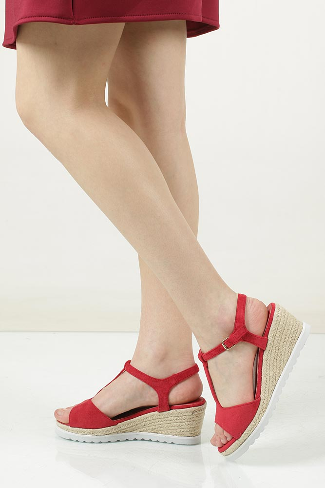 Sandały na koturnie Casu LS55710P kolor czerwony