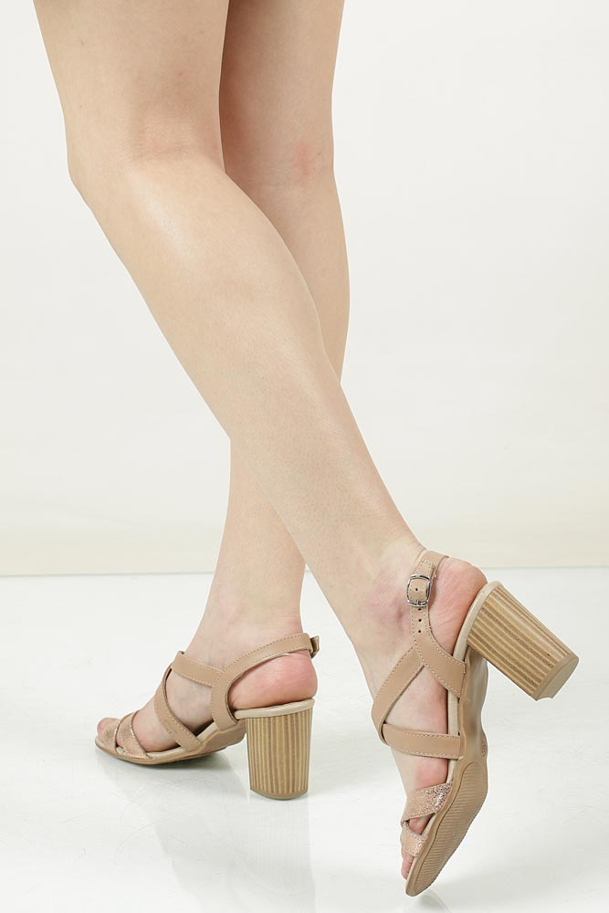 Sandały skórzane na słupku Tamaris 1-28011-38 kolor beżowy