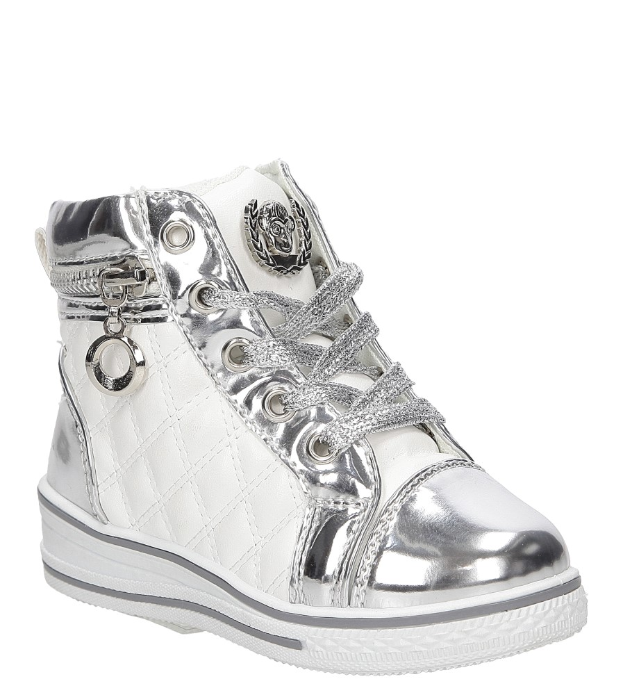 Dziecięce Sneakersy z ozdobnym zamkiem Casu R12D-7P biały;srebrny;
